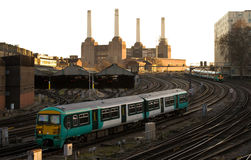Commuter Train approaching London Victoria Stock Photo