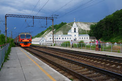 Commuter train arrives to the platform of Divnogorie, Russia Stock Image