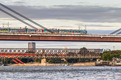 Commuter Train Crossing Belgrade New Railway Bridg Stock Image