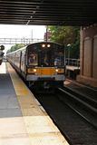 Commuter Train In Motion Stock Photo
