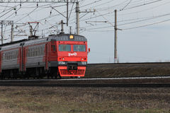 Commuter train Russian Railways in motion. April 10, 2017 St. Petersburg, Russian Railways speed passenger train in motion Royalty Free Stock Photography