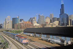 Commuter Train with Skyline, Chicago, Illinois Royalty Free Stock Photography