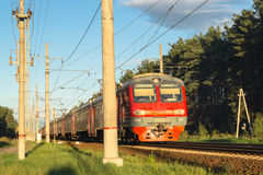 Commuter train in the suburbs of Moscow. Commuter trains are very popular, as they allow you to travel to the suburbs and to return to the capital quickly and Stock Images