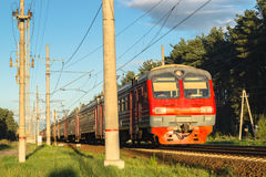 Commuter train in the suburbs of Moscow. Commuter trains are very popular, as they allow you to travel to the suburbs and to return to the capital quickly and Royalty Free Stock Photography