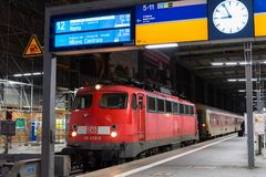 A commuter train waits at the Munich Main Railway Station (Munchen Hauptbahnhof) Stock Image