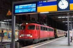 A commuter train waits at the Munich Main Railway Station (Munchen Hauptbahnhof) Stock Image