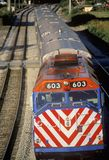 A commuter train in the West Loop area enters downtown Chicago. Royalty Free Stock Photography