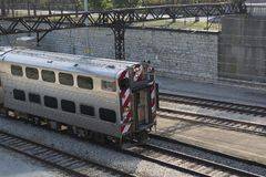 Commuter Train in the Yard Chicago Stock Photography