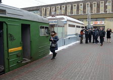 Commuter trains to Paveletsky train station Moscow Royalty Free Stock Photos