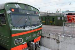 Commuter trains to Paveletsky train station Moscow. MOSCOW, RUSSIA - JANUARY 20, 2014:Commuter trains to Paveletsky train station Moscow Stock Image