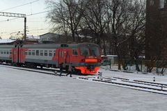 Commuter trains to Paveletsky train station Moscow. Royalty Free Stock Photography
