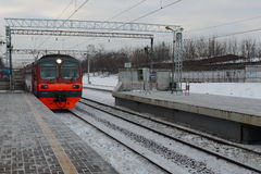 Commuter trains to Paveletsky train station Moscow. Royalty Free Stock Image