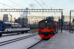 Commuter trains to Paveletsky train station Moscow. Royalty Free Stock Photos