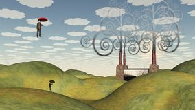 Commuter View. Fantastic landscape with man floating in sky under umbrella. Human elements were created with 3D software and are not from any actual human Royalty Free Stock Images
