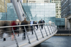 Commuters. Blured City workers at Canary Wharf, London stock photos