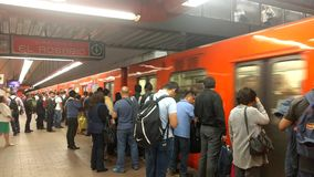 Commuters at the Auditorio subway station in Polanco, Mexico City. POLANCO, MEXICO CITY-July 31, 2017.  Auditorio Subway Station in the Polanco neighborhood stock footage