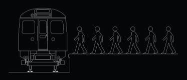 Commuters boarding a train Stock Photo