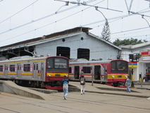 Commuters in Bogor Station, Indonesia. Stock Photo