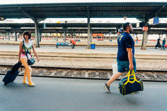 Commuters in Bucharest North Railway Station Royalty Free Stock Photos