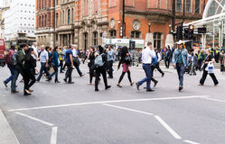 Commuters Crossing Bishopsgate Road Towards London Liverpool Street Royalty Free Stock Images