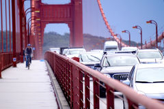Commuters crossing the Golden Gate Bridge during rush hour. Royalty Free Stock Image