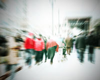 Commuters crossing at rush hour. Blur motion Stock Photography