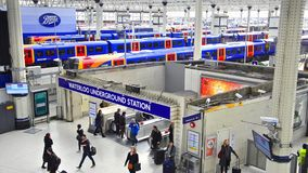 Commuters inside Waterloo Station, England stock video footage