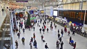 Commuters inside Waterloo Station, London stock video