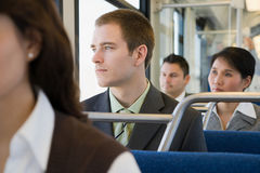 Commuters on light rail Stock Images