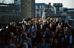 Commuters on London Bridge Stock Photo