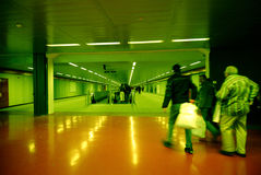 Commuters in Milan Subway II. Commuters, Milan Subway, Italy. Slight noise, postprocessed, motion blur Stock Image