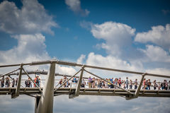 Commuters on the Millenium Bridge Royalty Free Stock Images
