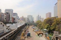 Commuters on platform of Ochanomizu station at rush hour. Royalty Free Stock Image