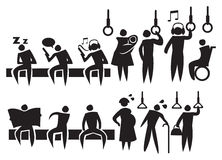Commuters in Public Transport Icon Set Stock Image