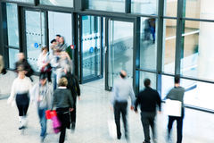 Commuters Rushing in Corridor, Motion Blur Royalty Free Stock Photo