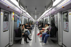 Commuters in Shanghai Metro. Photo taken at 19th of November 2010 Stock Image