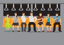Commuters in Subway Busy with Mobile Phone Vector Illustration Royalty Free Stock Photos