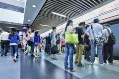 Commuters at a subway station, Shanghai, China Royalty Free Stock Photography