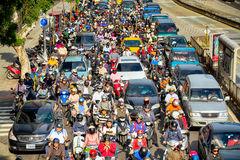Commuters in Taipei - Taiwan. TAIPEI - TAIWAN, MAY 12, 2014: Commuters in the morning rush hour in Taipei, on May 12 royalty free stock photography