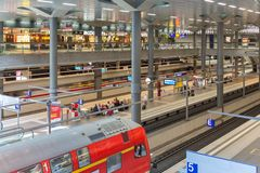 Commuters  traveling by train at the central station of Berlin Stock Photography