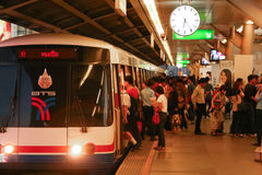 Commuters on Underground train. Bangkok Mass Transit System, Thailand Royalty Free Stock Photos
