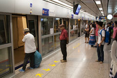 Commuters on Underground train (indoor). Bangkok Mass Transit System, Thailand Stock Images