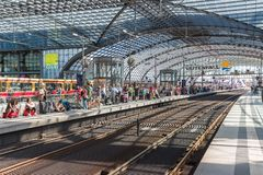 Commuters are waiting for the train at the central Royalty Free Stock Photo