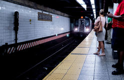 Commuters waiting for 6 train inside Grand Central Station Royalty Free Stock Photos