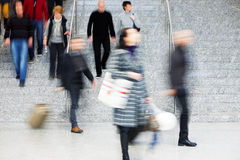 Commuters Walking Up Stairs, Motion Blur Royalty Free Stock Images