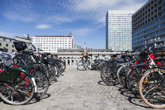 Commuting on bicycle in Copenhagen. Royalty Free Stock Photos