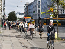 Commuting on bicycle in Copenhagen. Royalty Free Stock Photography