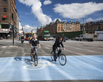 Commuting on bicycle in Copenhagen. Stock Image