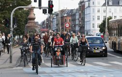 Commuting on bicycle in Copenhagen. Royalty Free Stock Image