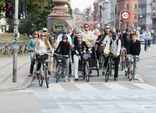 Commuting on bicycle in Copenhagen. Royalty Free Stock Images
